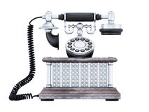 Retro phone front view. Vintage telephone isolated on white background. 3d illustration Stock Photo