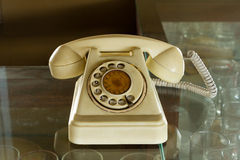 Retro Phone. On The Glass royalty free stock images