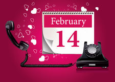 Retro phone with hearts Stock Photography