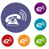 Retro phone icons set. In flat circle reb, blue and green color for web Stock Photo