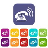 Retro phone icons set. Vector illustration in flat style in colors red, blue, green, and other Stock Photo