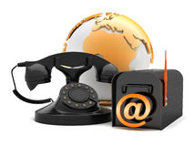Retro phone and mailbox - concept illustration Stock Photo
