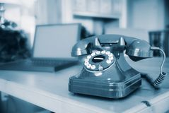 Retro Phone on Office Table Stock Photo
