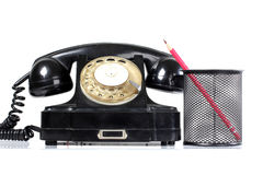 Retro phone and pen Stock Photography