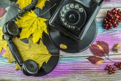 Retro phone and records lie with autumn leaves on the table. Royalty Free Stock Photos