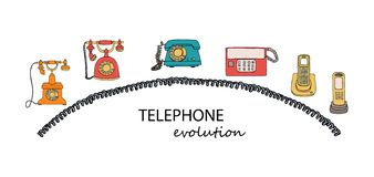 Retro phone set royalty free illustration