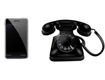 Retro phone and smart phone. Illustration vector illustration