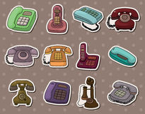 Retro phone stickers. Cartoon vector illustration Royalty Free Stock Photography