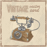 Retro phone stylish vintage postcard Royalty Free Stock Photos