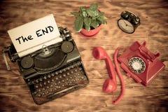 Retro phone and typewriter Royalty Free Stock Photo