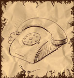 Retro phone  on vintage background Stock Photo