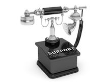 Retro Phone. Vintage Telephone with Support Sign Stock Photo