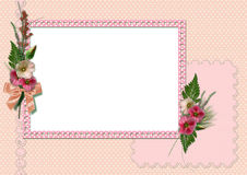 Retro photo album. The frame is decorated with a bouquet of flowers hollyhocks Royalty Free Stock Photo