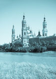 Retro photo of Basilica in Zaragoza Stock Photos