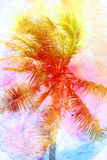 Retro photo of a beautiful watercolor of palm trees Stock Image