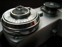 Retro photo camera. Detail of the retro photo camera royalty free stock photo