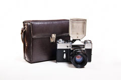 Retro photo camera with flash isolated on white on the white bac Royalty Free Stock Photos