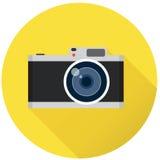 Retro photo camera, flat vector illustration Royalty Free Stock Photo