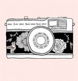 Retro photo camera with flowers and birds pattern. Stock Image