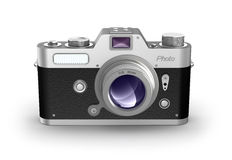 Retro photo camera. Front view. Royalty Free Stock Image