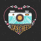 Retro photo camera. Hand drawn typography poster. Say cheese. Can be used as a greeting card, bags or t-shirt. Vector illustration Royalty Free Stock Photos