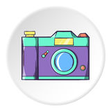 Retro photo camera icon, cartoon style. Retro photo camera icon in cartoon style isolated on white circle background. Shooting symbol vector illustration Royalty Free Stock Photo