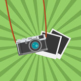 Retro Photo camera icon. Flat design vector illustration. Photo camera with photo frames. Flat design vector illustration. Old camera with strap, isolated Stock Images