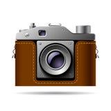 Retro photo camera icon  on white Stock Photo