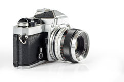 Retro photo camera isolated on white :Clipping path Royalty Free Stock Photo