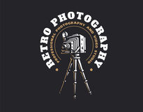 Retro photo camera logo - vector illustration. Vintage emblem stock images