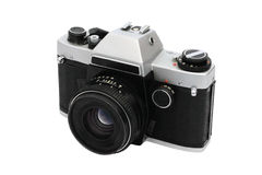 Retro photo camera. Old retro photo camera isolated close-up view Royalty Free Stock Image