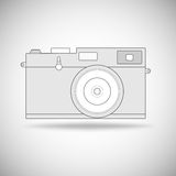 Retro photo camera outline. Royalty Free Stock Images