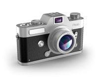 Retro photo camera over white. My own design. Royalty Free Stock Photo