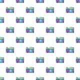 Retro photo camera pattern, cartoon style Royalty Free Stock Image
