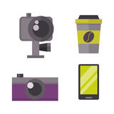 Retro photo camera and phone icon vector illustration. Stock Photo