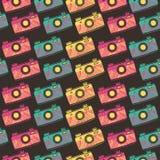 Retro photo camera seamless pattern. Vector illustration Stock Image