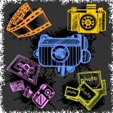 Retro photo camera set in vector Royalty Free Stock Image
