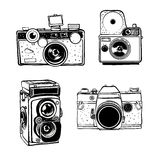Retro photo camera set vector doodle illustration Stock Photography