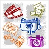 Retro photo camera set in vector Stock Image