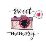 Retro photo camera with stylish lettering - Sweet memory. Vector hand drawn illustration. Print for your design Royalty Free Stock Photos