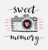 Retro photo camera with stylish lettering - Sweet memory. Vector hand drawn illustration. Royalty Free Stock Photography