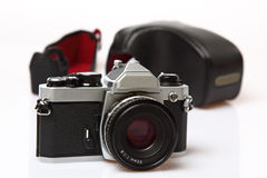 Retro photo camera wtih case Royalty Free Stock Photo