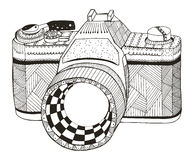 Retro photo camera. Zentangle stylized. Vintage camera. Freehand Royalty Free Stock Photography