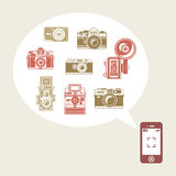 Retro photo cameras in phone Royalty Free Stock Images