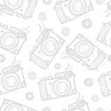 Retro photo cameras seamless background Stock Photo