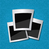 Retro Photo Cards on Blue Pattern Wallpaper Stock Photography