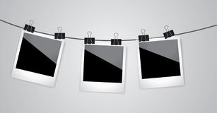 Retro photo frame on grey background. Vector image Royalty Free Stock Photography