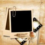 Retro photo frame with seashells. Vintage   background with frame Polaroid and film-strip  for family album Stock Photo