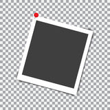 Retro photo frame with shadow on red pin on a transparent background Royalty Free Stock Photo