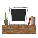 Retro photo frame on wooden shelf. Room interior accessories plant and books Royalty Free Stock Image